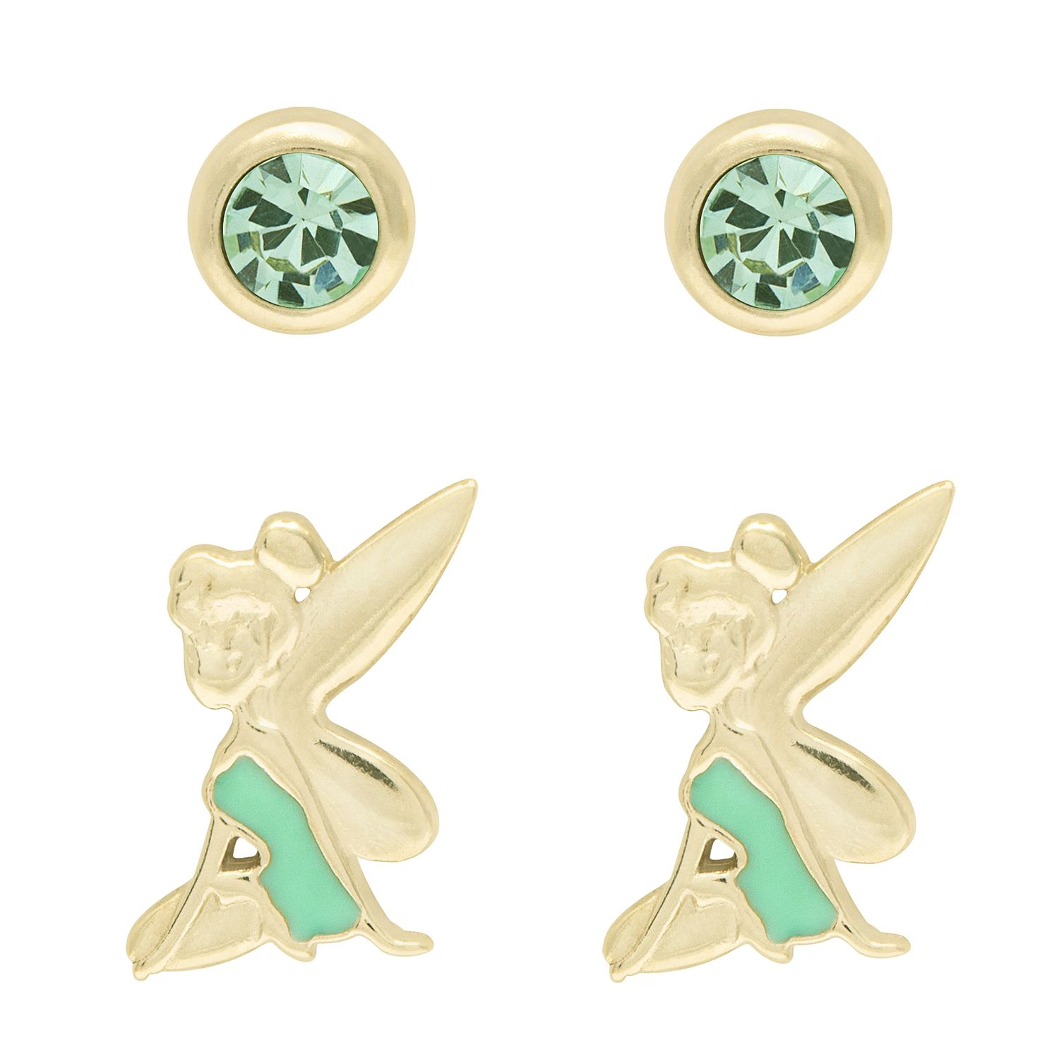 Disney Children's Tinker Bell Gold Tone Stud Earrings Set - Product number 6003761