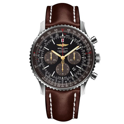 Breitling Navitimer 01 Men's Brown Leather Strap Watch - Product number 6007090