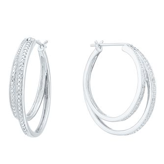 Sterling Silver Double Hoop Diamond Earrings - Product number 6007864