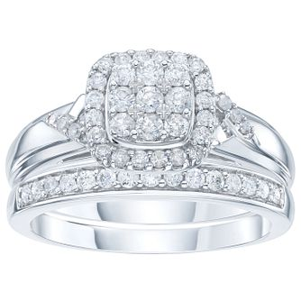 Perfect Fit 9ct White Gold 0.5ct Diamond Bridal Set - Product number 6009182