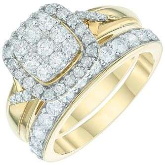 9ct Gold 1 Carat Diamond Perfect Fit Bridal Set - Product number 6009719