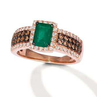 Le Vian 14ct Strawberry Gold Smeralda Emerald & Diamond Ring - Product number 6012868
