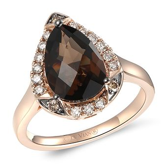 Le Vian 14ct Strawberry Gold Chocolate Quartz & Diamond Ring - Product number 6013139