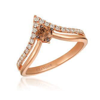Le Vian 14ct Strawberry Gold Diamond Wishbone Ring - Product number 6013406