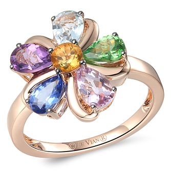 Le Vian 14ct Strawberry Gold Multi Stone Flower Ring - Product number 6013899