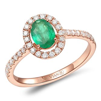 Le Vian 14ct Strawberry Gold Smeralda Emerald & Diamond Ring - Product number 6019757