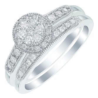 Perfect Fit 9ct White Gold 1/3ct Round Diamond Bridal Set - Product number 6020135