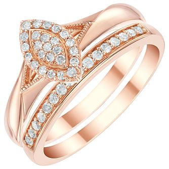 9ct Rose Gold 1/5ct Diamond Perfect Fit Bridal Set - Product number 6020267