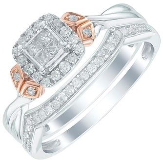Perfect Fit 9ct White and Rose Gold 1/3 Diamond Bridal Set - Product number 6023061