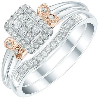 Perfect Fit 9ct White and Rose Gold 1/4 Diamond Bridal Set - Product number 6023339