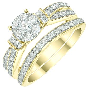 9ct Yellow Gold 2/3ct Diamond Perfect Fit Bridal Set - Product number 6023878