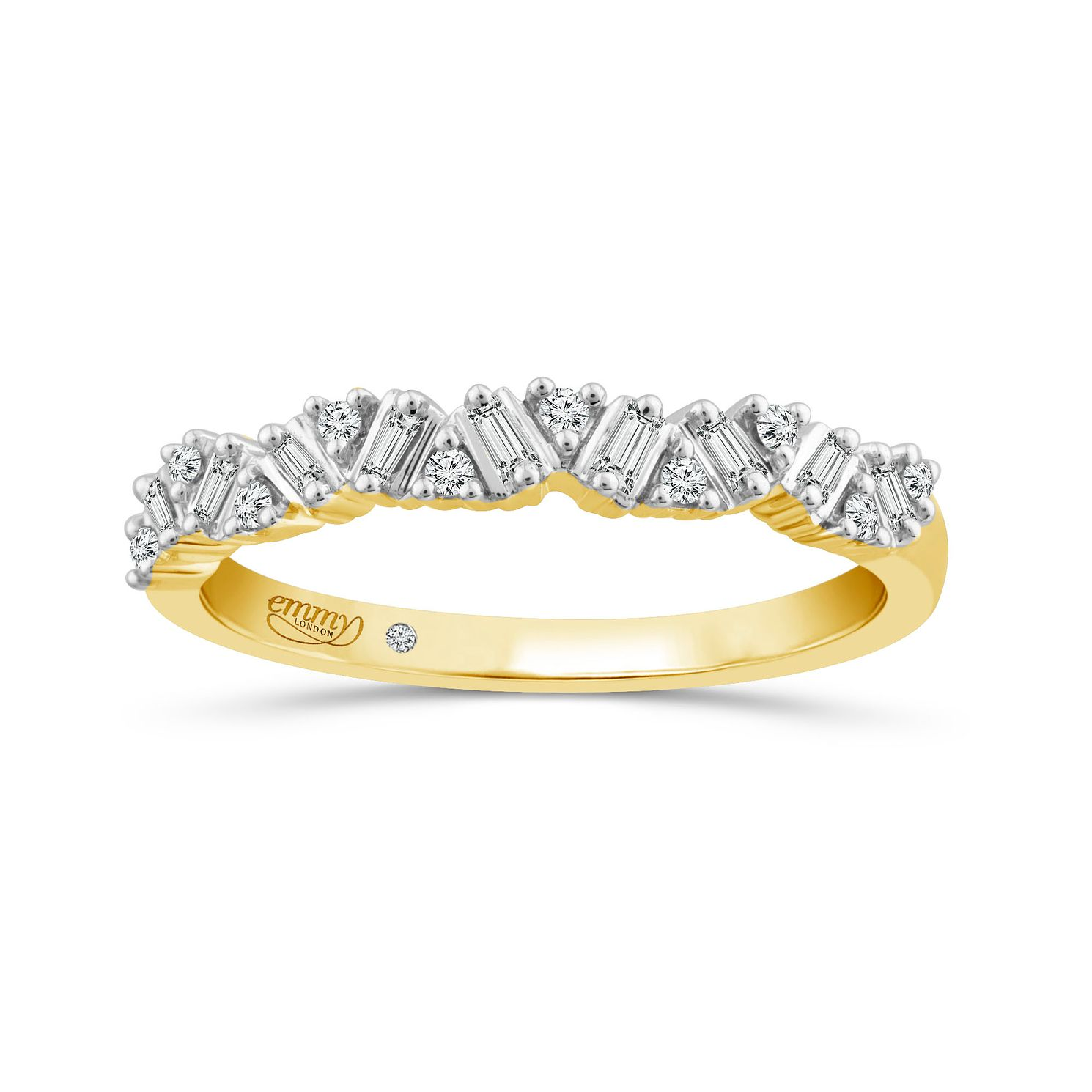 Emmy London 18Ct Yellow Gold 0.12Ct Baguette Diamond Band - Product number 6027199
