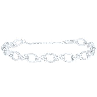 Open Hearts Silver 0.10ct Diamond Bracelet - Product number 6027695