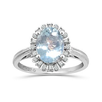Emmy London Platinum Aquamarine & 0.12ct Diamond Ring - Product number 6033415