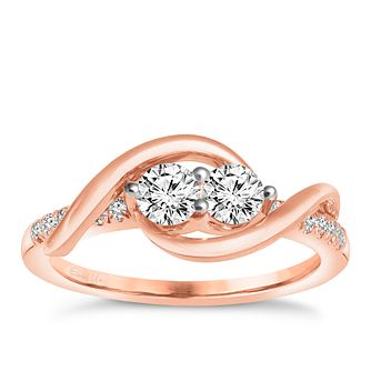 Ever Us 14ct rose gold 0.50ct 2 stone diamond ring - Product number 6035256