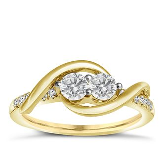 Ever Us 14ct Yellow Gold 0.50ct 2 Stone Diamond Ring - Product number 6035736