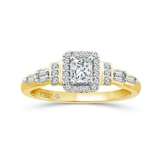 Emmy London 18ct Yellow Gold 1/2ct Diamond Halo Ring - Product number 6037542