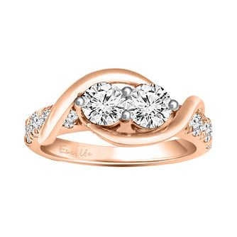 Ever Us 14ct rose gold 1.50ct two stone diamond ring - Product number 6038158