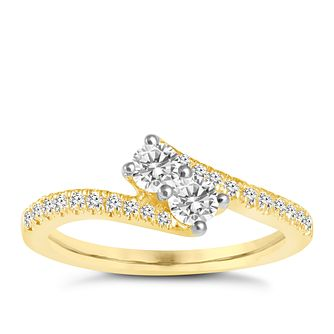 Ever Us 14ct yellow gold 0.50ct two stone diamond ring - Product number 6039170