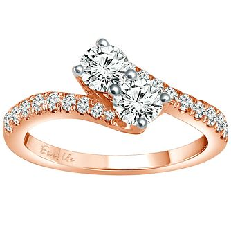 Ever Us 14ct rose gold 1ct two stone twist diamond ring - Product number 6039944