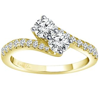 Ever Us 14ct yellow gold 1ct two stone twist diamond ring - Product number 6040071
