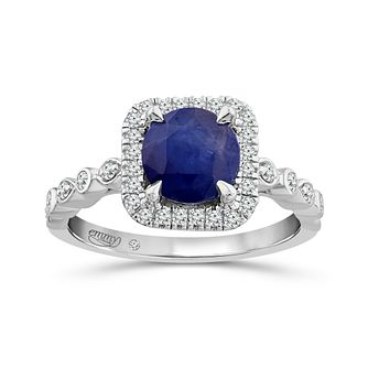 Emmy London Platinum Sapphire & 1/5ct Diamond Ring - Product number 6042589