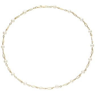 9ct Gold Oval Link Cultured Freshwater Pearl Necklace - Product number 6046347