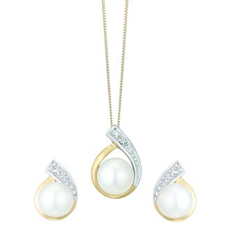9ct Gold Cultured Pearl & Diamond Pendant & Stud Earrings - Product number 6046460