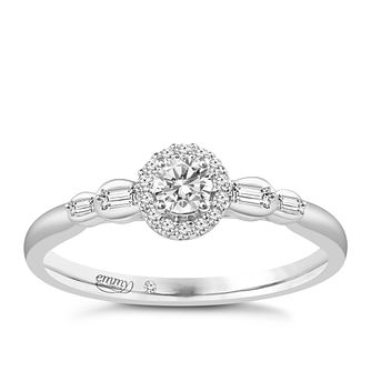 Emmy London 9ct White Gold 0.25ct Total Diamond Halo Ring - Product number 6048242