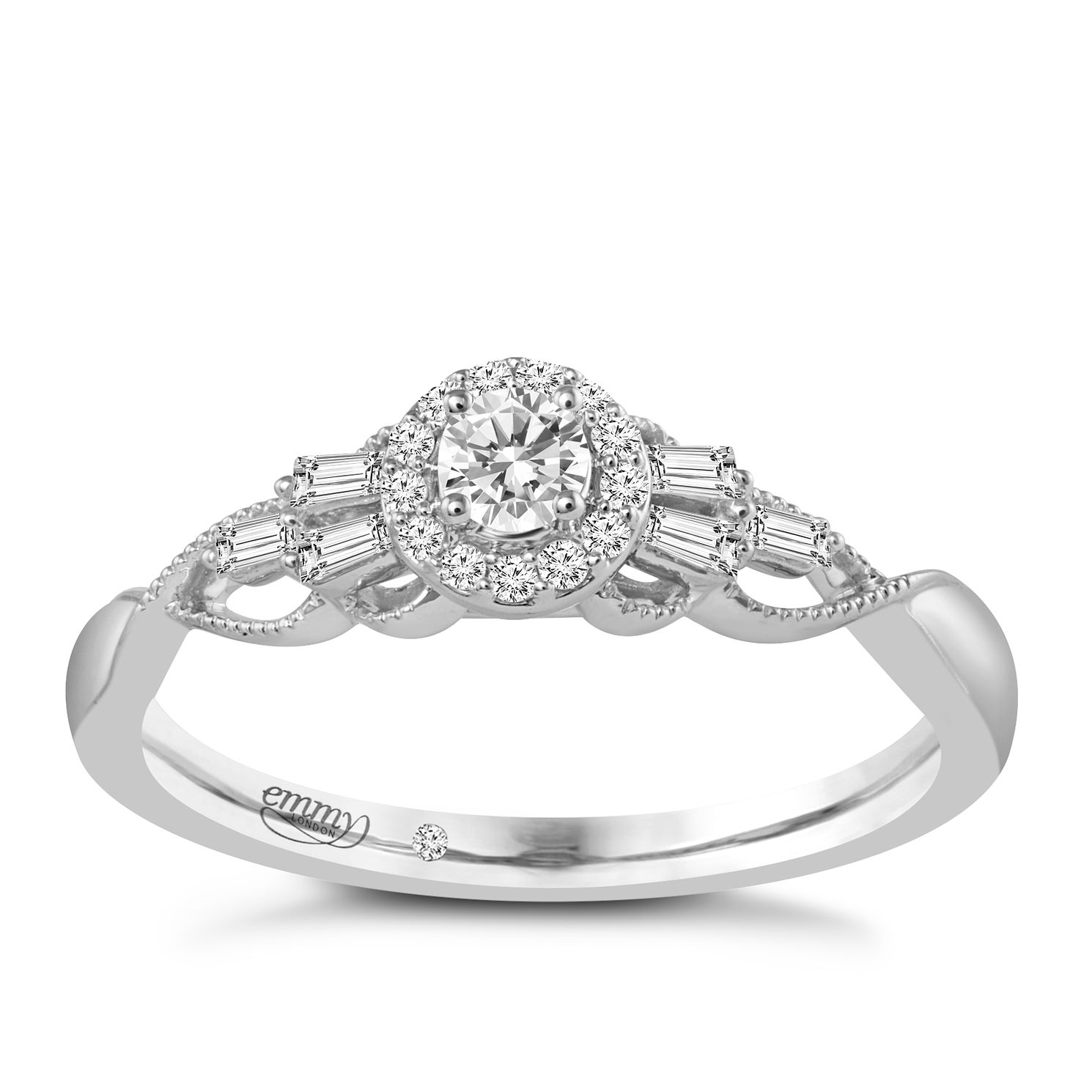 Emmy London 18ct White Gold 1/4 Carat Diamond Halo Ring - Product number 6048374