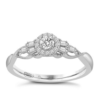 Emmy London 18ct White Gold 0.25ct Total Diamond Halo Ring - Product number 6048374