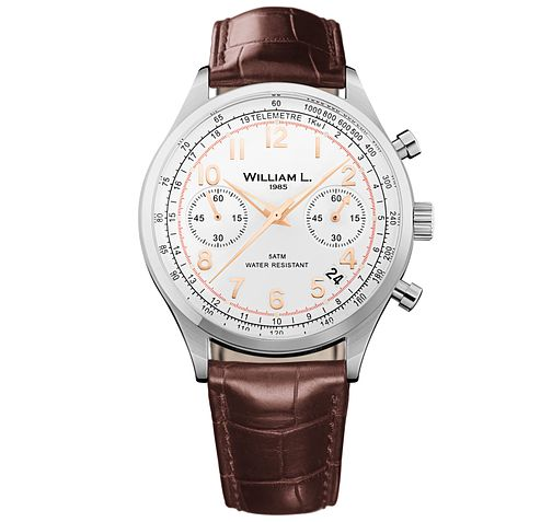 William L Vintage Chronograph Men's Leather Strap Watch - Product number 6050476
