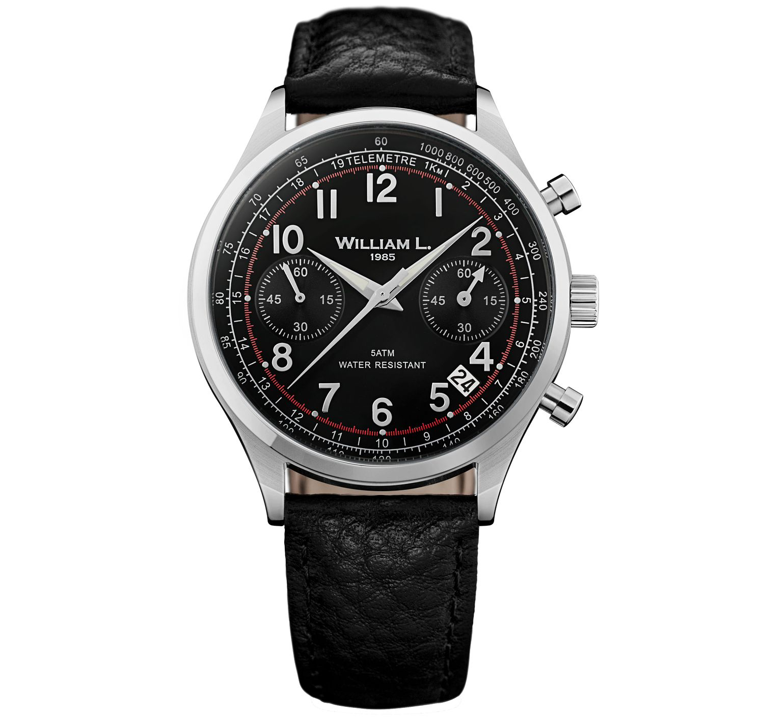 William L Vintage Chronograph Men's Leather Strap Watch - Product number 6050506