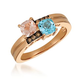 14ct Diamond, Peach Morganite and Ocean Blue Topaz - Product number 6054498