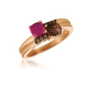 14ct Strawberry Gold Diamond & Pomegranate Garnet Ring - Product number 6054684