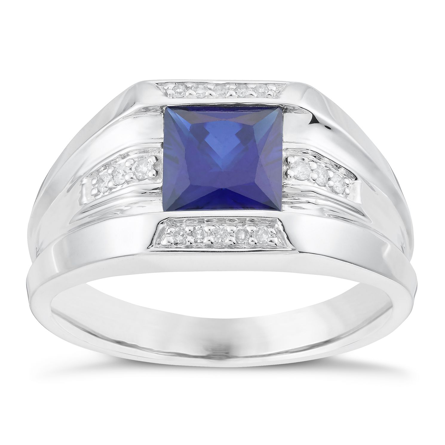 Sterling Silver Created Sapphire & Diamond Ring - Product number 6056350