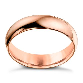 9ct Rose Gold 6mm Heavy D Shape Ring - Product number 6066682