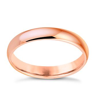 18ct Rose Gold 3mm Heavy D Shape Ring - Product number 6068448