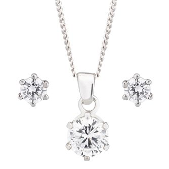 Sterling Silver Cubic Zirconia Pendant Earrings Boxed Set - Product number 6070671