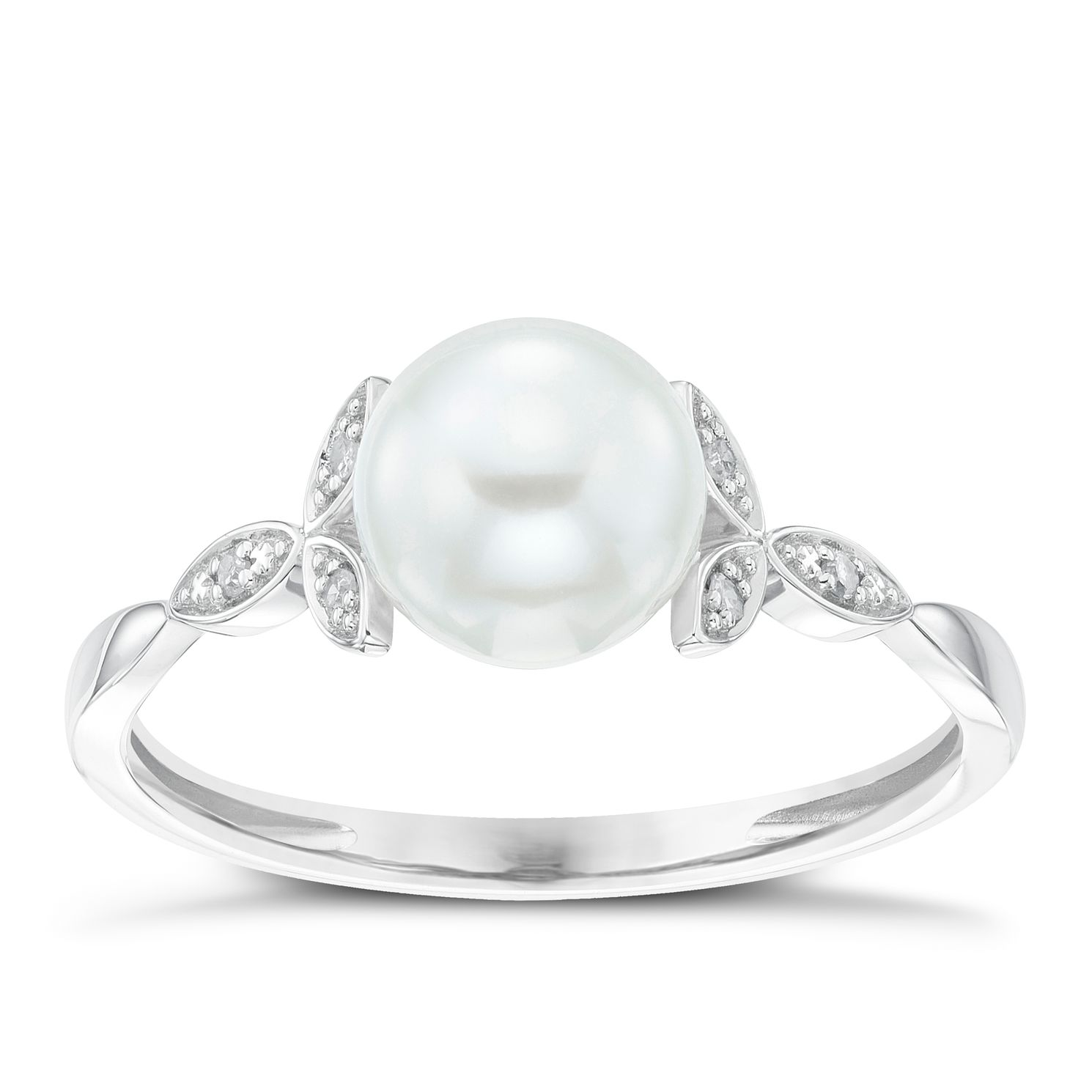 9ct White Gold Cultured Freshwater Pearl Diamond Leaf Ring - Product number 6074545