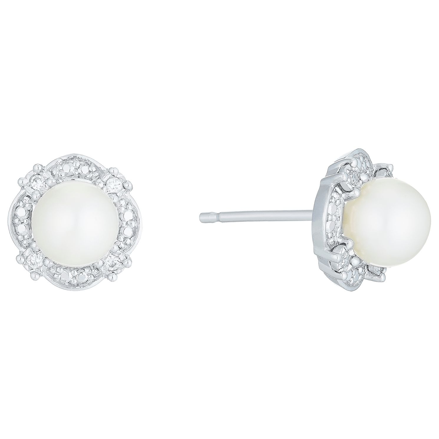 9ct White Gold Cultured Freshwater Pearl Diamond Earrings - Product number 6074707