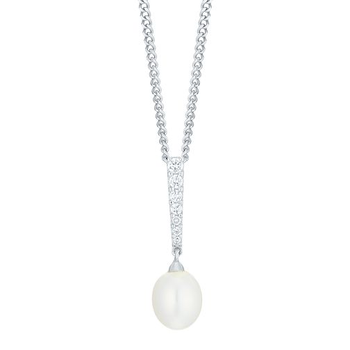 9ct White Gold Cultured Freshwater Pearl Diamond Pendant - Product number 6074928