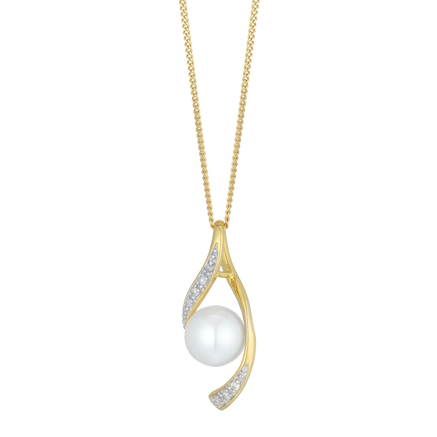 9ct Yellow Gold Cultured Freshwater Pearl Diamond Pendant - Product number 6075010