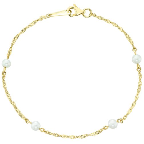 9ct Yellow Gold Cultured Freshwater Pearl Twist Bracelet - Product number 6075045