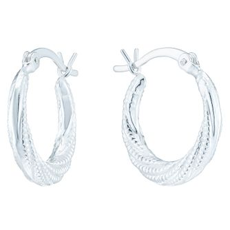 Sterling Silver Twisted Bead Creole Earrings - Product number 6081347