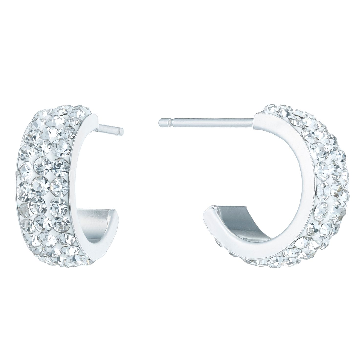Sterling Silver Crystal Encrusted Half Hoop Earrings - Product number 6081428
