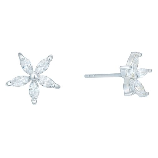 Sterling Silver Cubic Zirconia Flower Stud Earrings - Product number 6081460