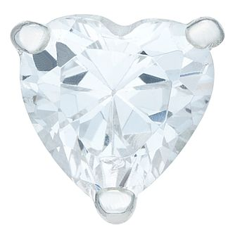 Sterling Silver Cubic Zirconia Heart Single Stud Earring - Product number 6081614