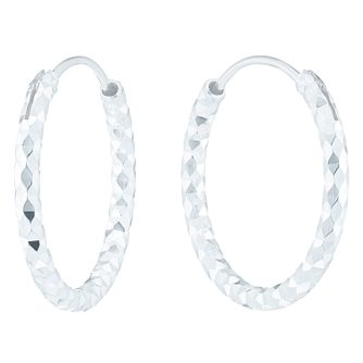 Sterling Silver Diamond Cut 18mm Hoop Earrings - Product number 6082491