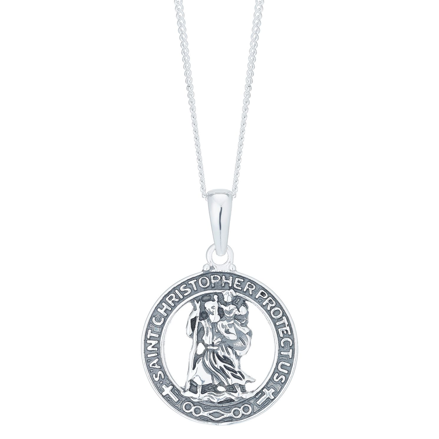 Sterling Silver St Christopher Protect Us Cut Out Pendant - Product number 6083250